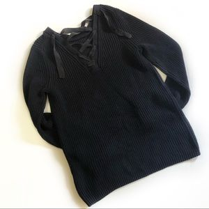 Banana Republic Navy Lace Up Knit Sweater